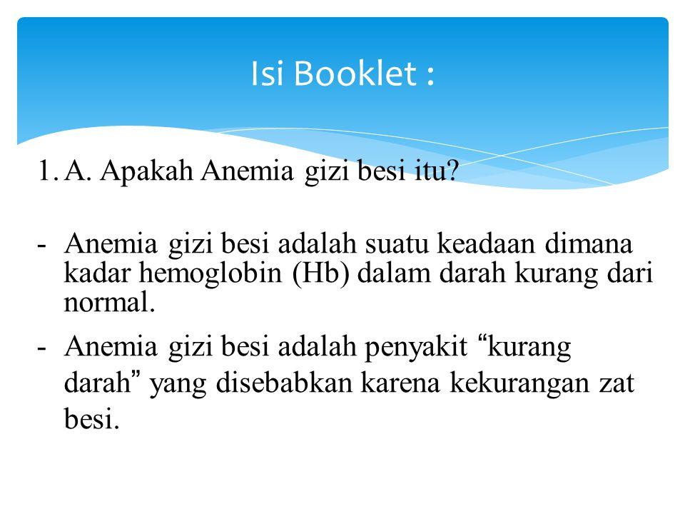 Isi Booklet : A. Apakah Anemia gizi besi itu