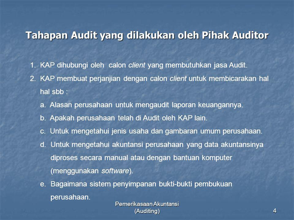 Tahapan Audit yang dilakukan oleh Pihak Auditor