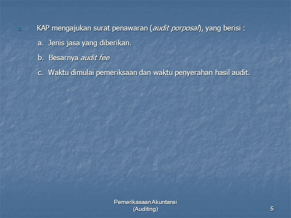 Pemerikasaan Akuntansi (Auditing)