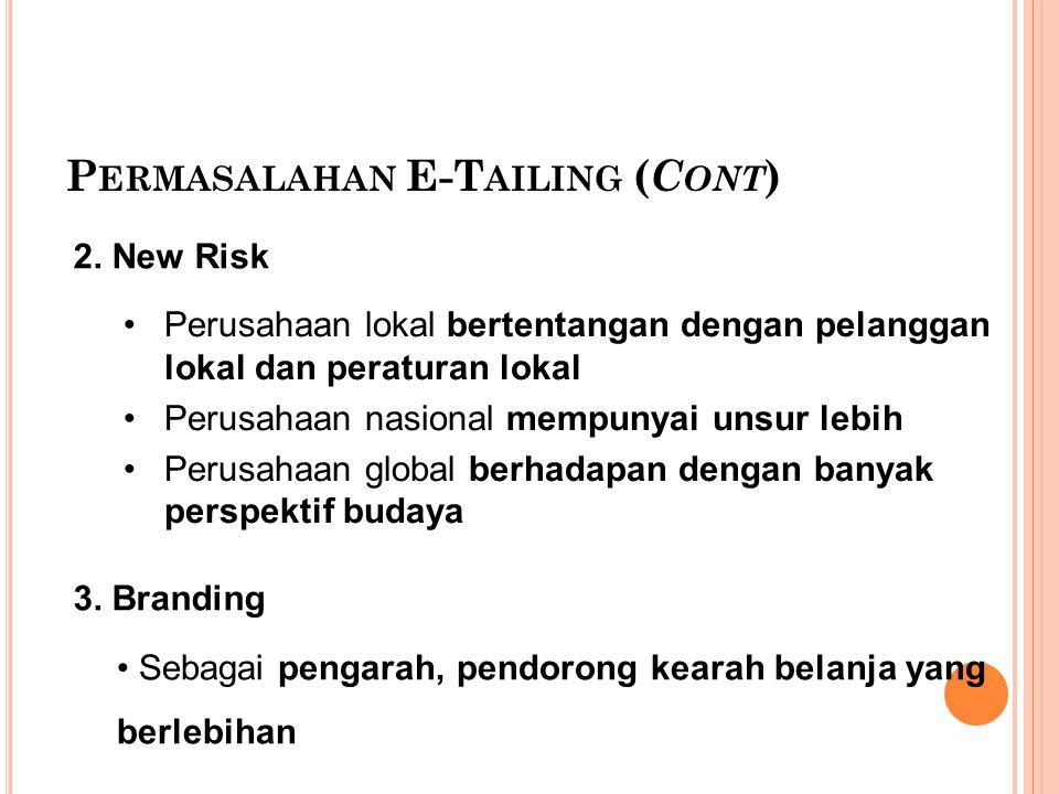 Permasalahan E-Tailing (Cont)