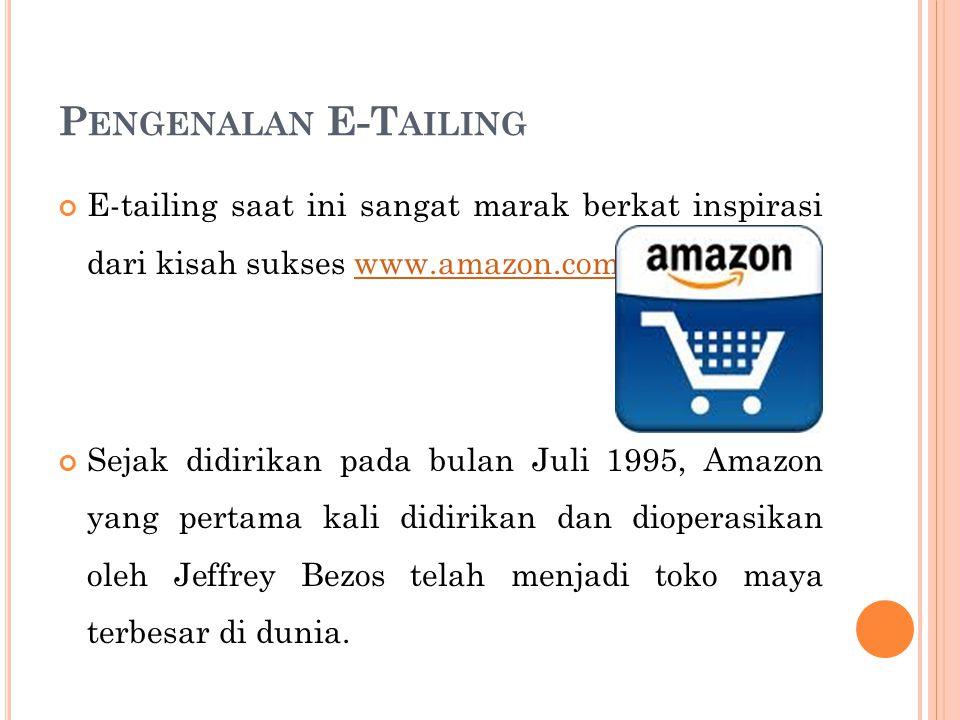 Pengenalan E-Tailing E-tailing saat ini sangat marak berkat inspirasi dari kisah sukses www.amazon.com.