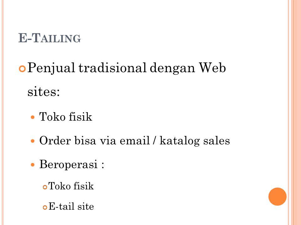 Penjual tradisional dengan Web sites: