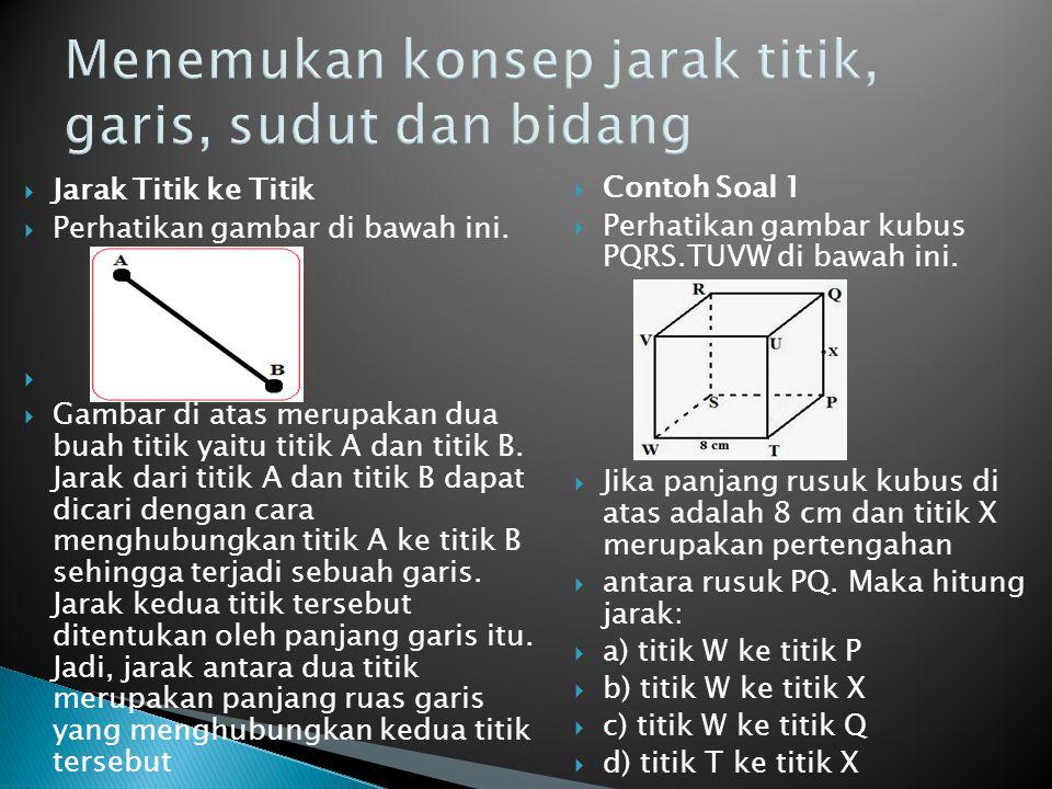 Menemukan konsep jarak titik, garis, sudut dan bidang