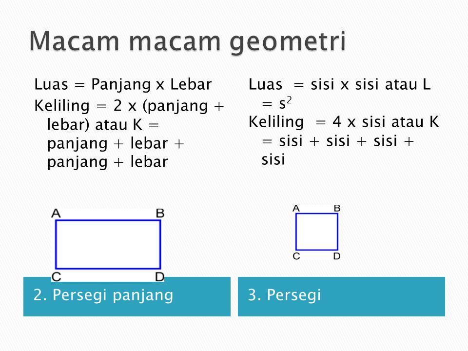 Macam macam geometri Luas = Panjang x Lebar Keliling = 2 x (panjang + lebar) atau K = panjang + lebar + panjang + lebar