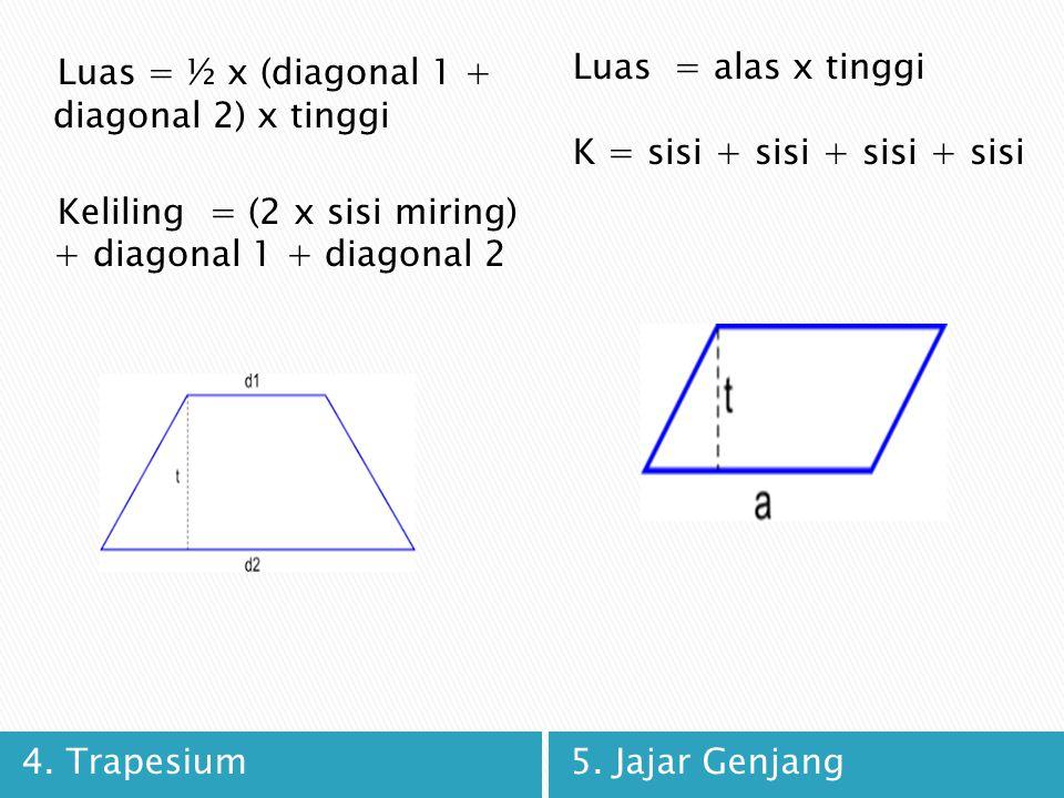 Luas = ½ x (diagonal 1 + diagonal 2) x tinggi