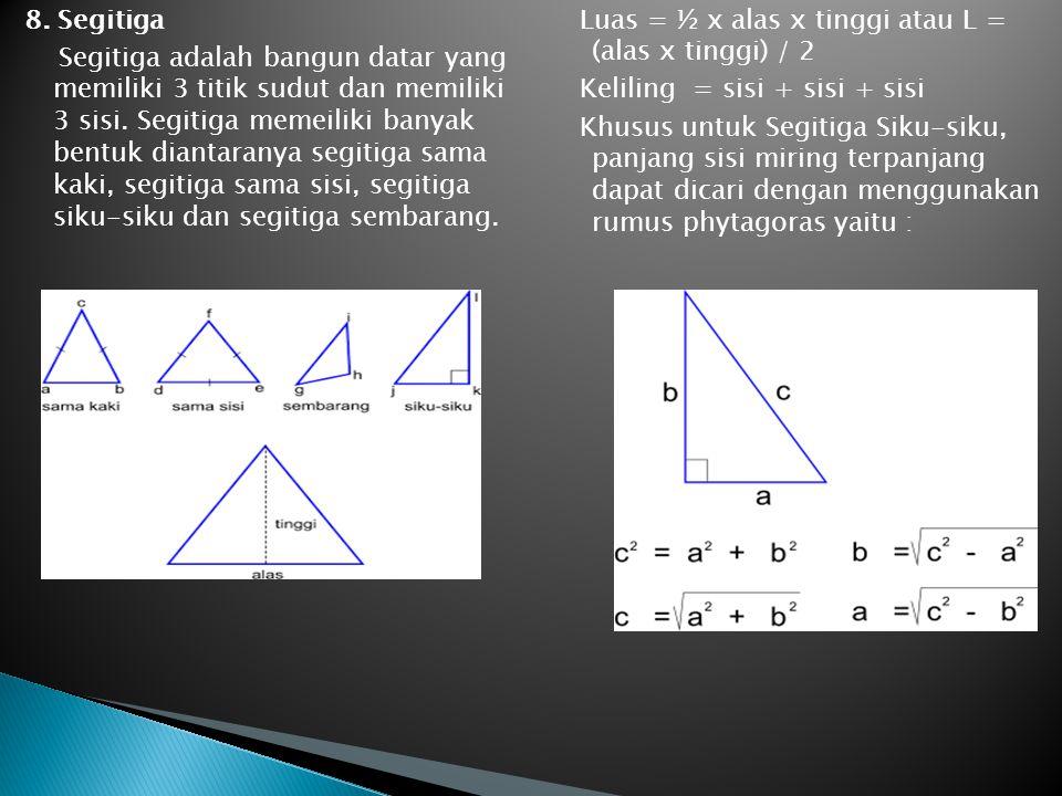 8. Segitiga Segitiga adalah bangun datar yang memiliki 3 titik sudut dan memiliki 3 sisi. Segitiga memeiliki banyak bentuk diantaranya segitiga sama kaki, segitiga sama sisi, segitiga siku-siku dan segitiga sembarang.