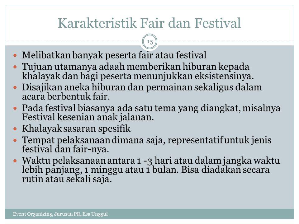 Karakteristik Fair dan Festival