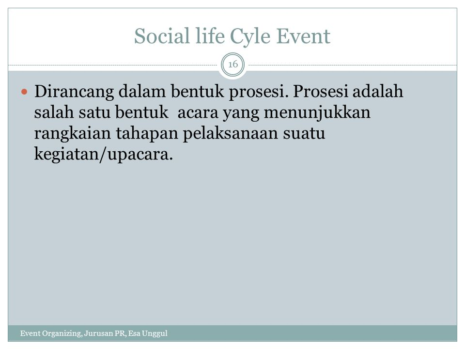 Social life Cyle Event
