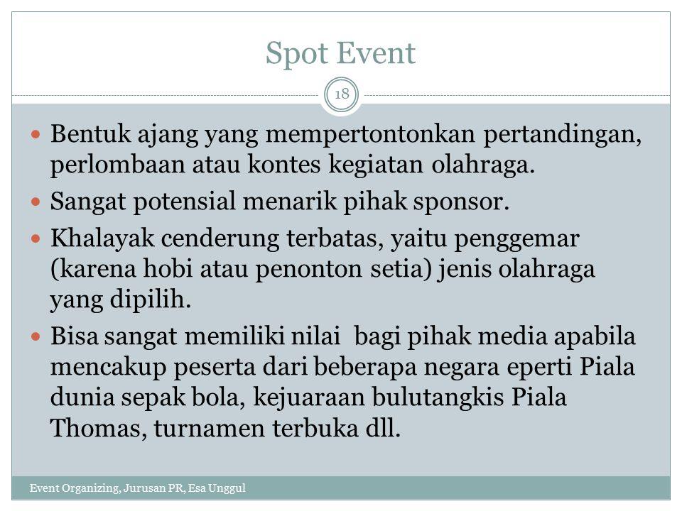 Spot Event Bentuk ajang yang mempertontonkan pertandingan, perlombaan atau kontes kegiatan olahraga.