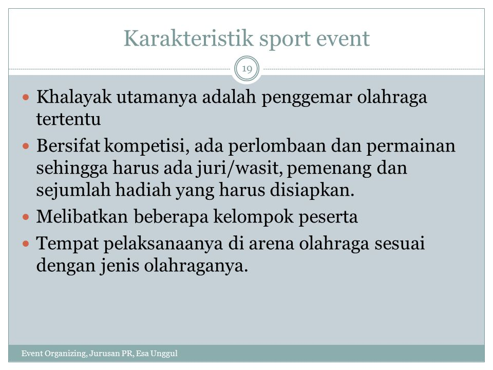 Karakteristik sport event