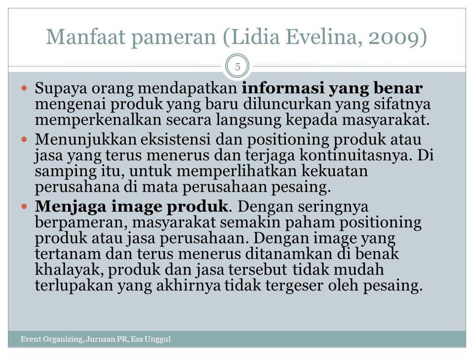 Manfaat pameran (Lidia Evelina, 2009)