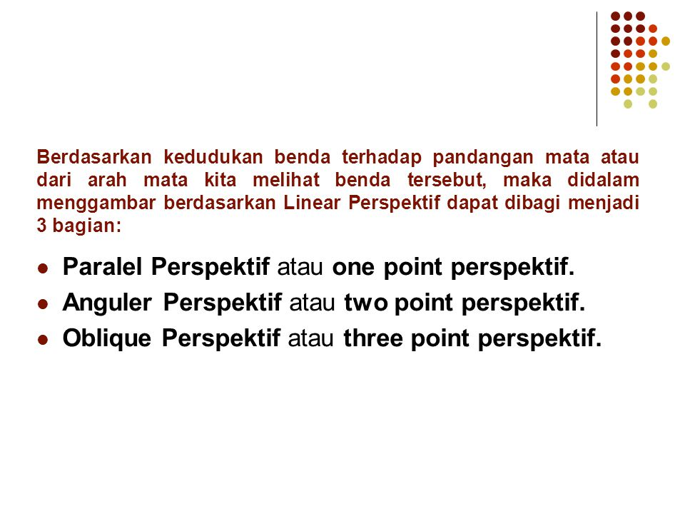 Paralel Perspektif atau one point perspektif.