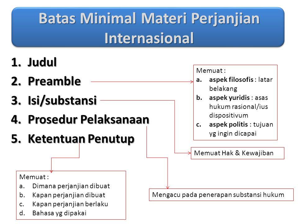 Batas Minimal Materi Perjanjian Internasional