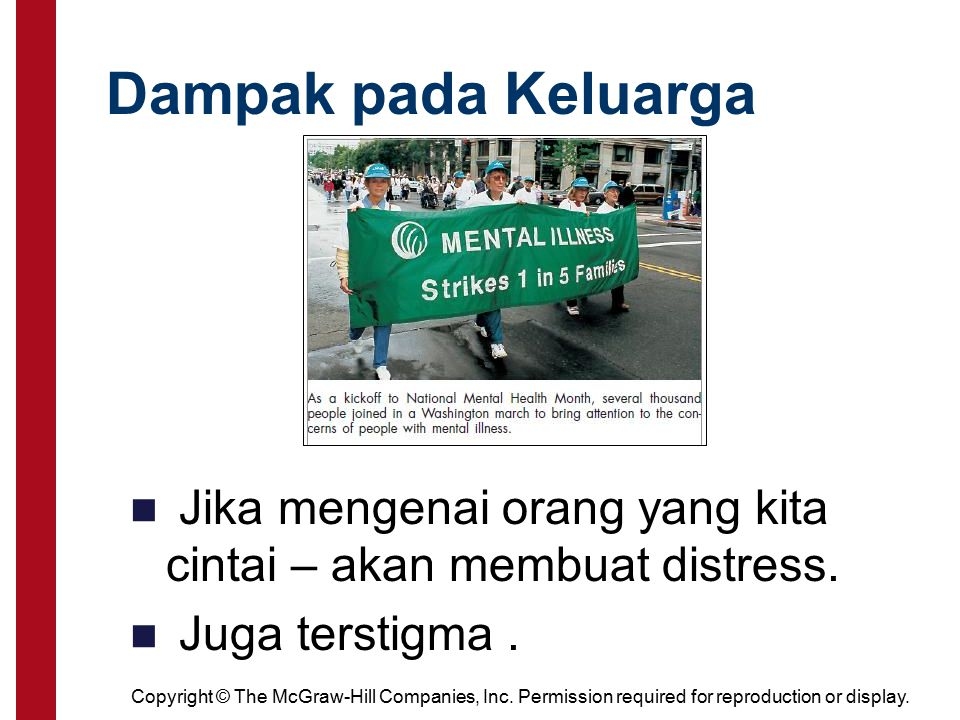Dampak pada Keluarga Family members are affected by the distress of their loved ones and also share a sense of stigma.