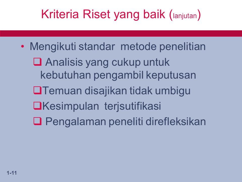 Kriteria Riset yang baik (lanjutan)