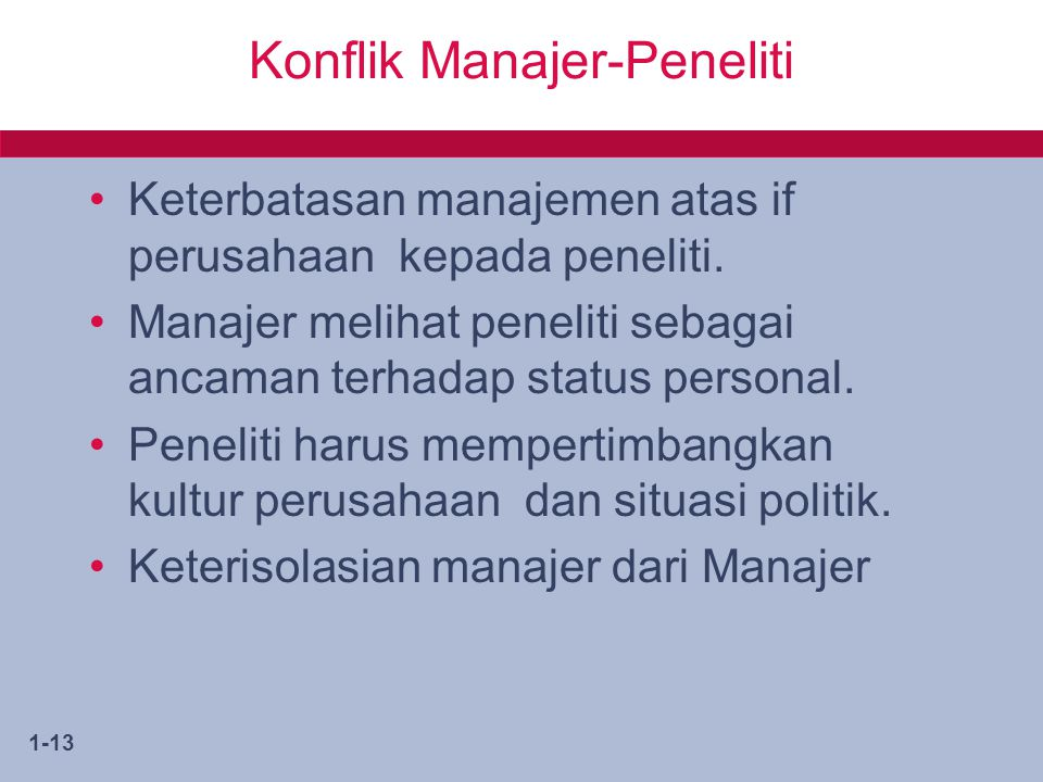 Konflik Manajer-Peneliti