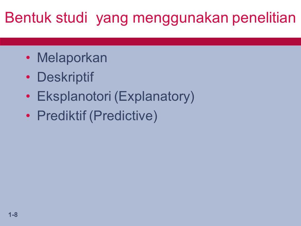 Bentuk studi yang menggunakan penelitian