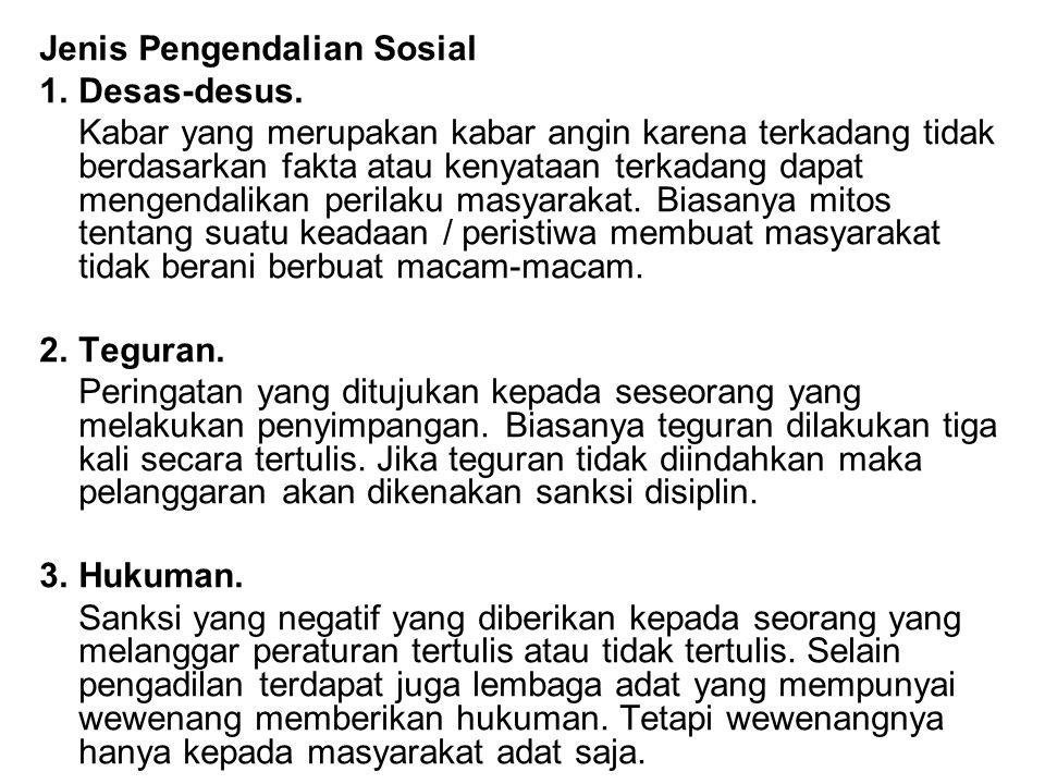 Jenis Pengendalian Sosial