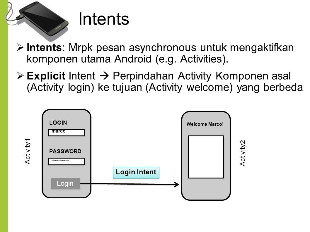 Intents Intents: Mrpk pesan asynchronous untuk mengaktifkan komponen utama Android (e.g. Activities).