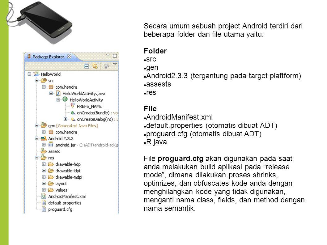 Secara umum sebuah project Android terdiri dari beberapa folder dan file utama yaitu: