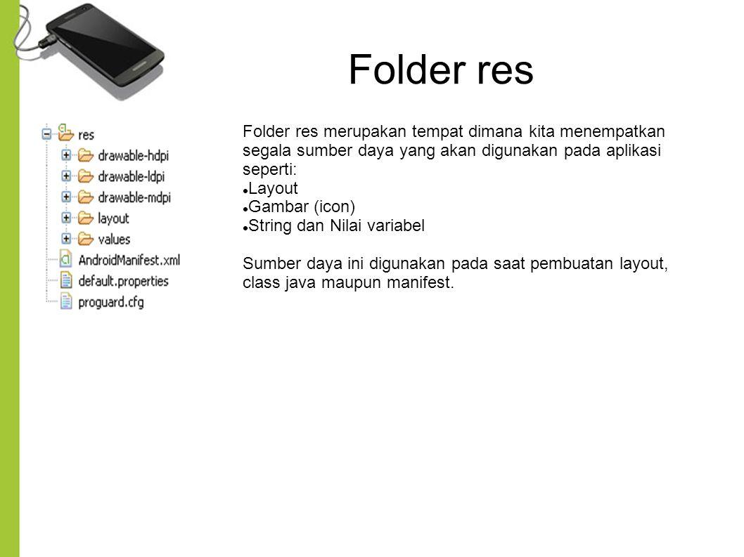 Folder res Folder res merupakan tempat dimana kita menempatkan segala sumber daya yang akan digunakan pada aplikasi seperti: