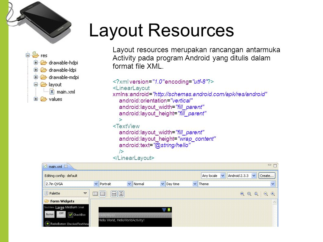 Layout Resources Layout resources merupakan rancangan antarmuka Activity pada program Android yang ditulis dalam format file XML.