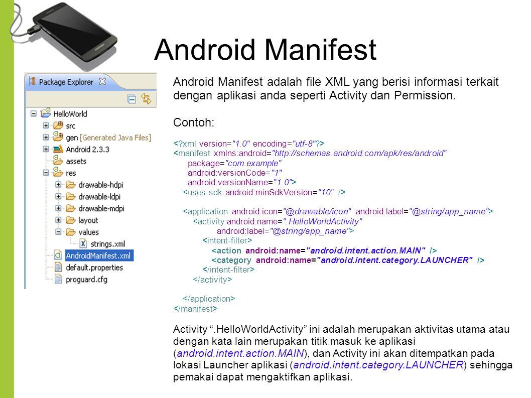 Android Manifest Android Manifest adalah file XML yang berisi informasi terkait dengan aplikasi anda seperti Activity dan Permission.