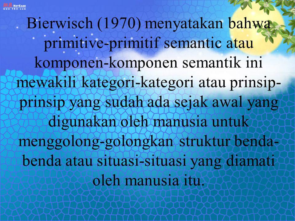 Bierwisch (1970) menyatakan bahwa primitive-primitif semantic atau komponen-komponen semantik ini mewakili kategori-kategori atau prinsip-prinsip yang sudah ada sejak awal yang digunakan oleh manusia untuk menggolong-golongkan struktur benda-benda atau situasi-situasi yang diamati oleh manusia itu.