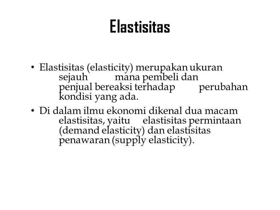 Elastisitas Elastisitas (elasticity) merupakan ukuran sejauh mana pembeli dan penjual bereaksi terhadap perubahan kondisi yang ada.