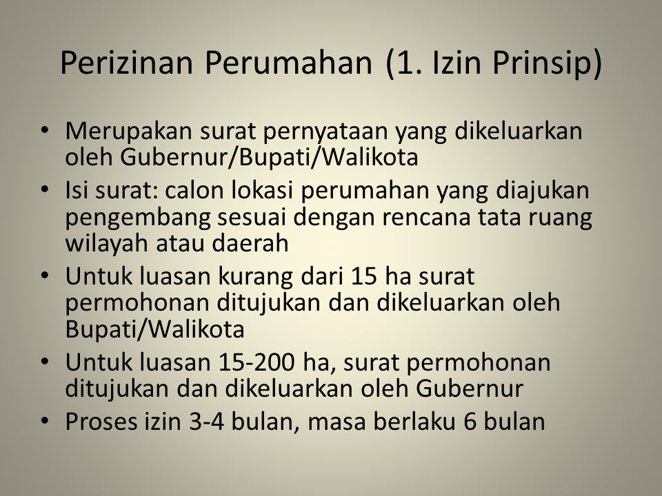 Perizinan Perumahan (1. Izin Prinsip)