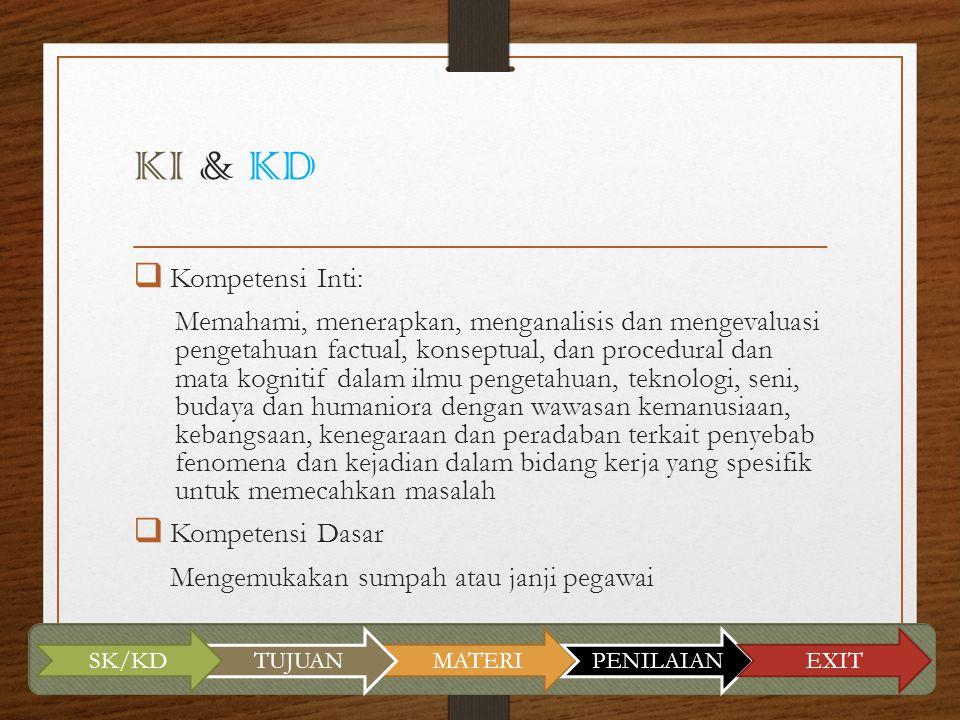 KI & KD Kompetensi Inti: