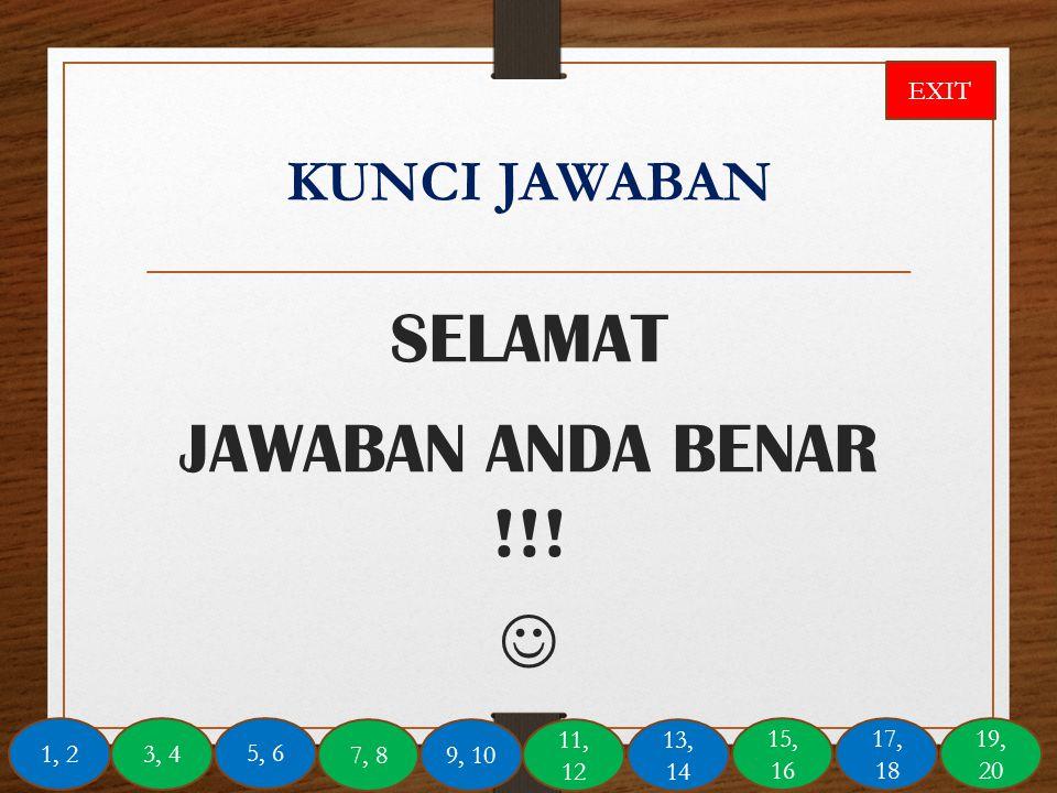 SELAMAT JAWABAN ANDA BENAR !!! 