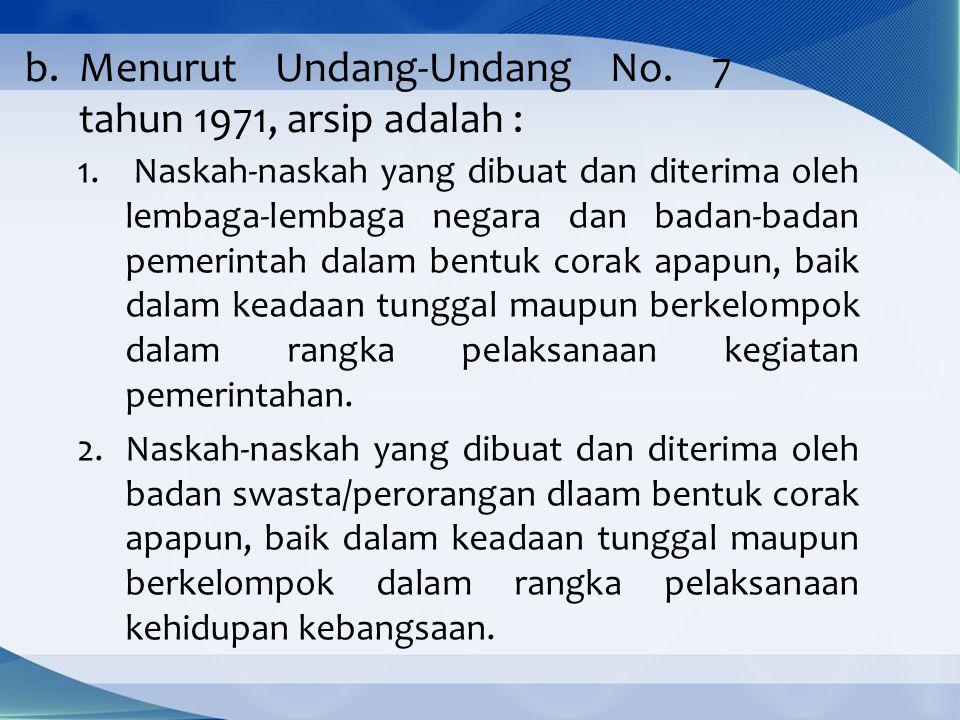 Menurut Undang-Undang No. 7 tahun 1971, arsip adalah :