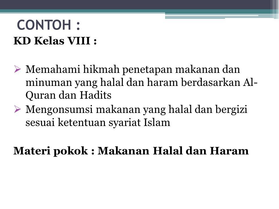 CONTOH : KD Kelas VIII : Memahami hikmah penetapan makanan dan minuman yang halal dan haram berdasarkan Al- Quran dan Hadits.