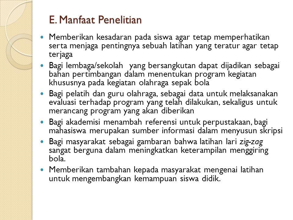 E. Manfaat Penelitian
