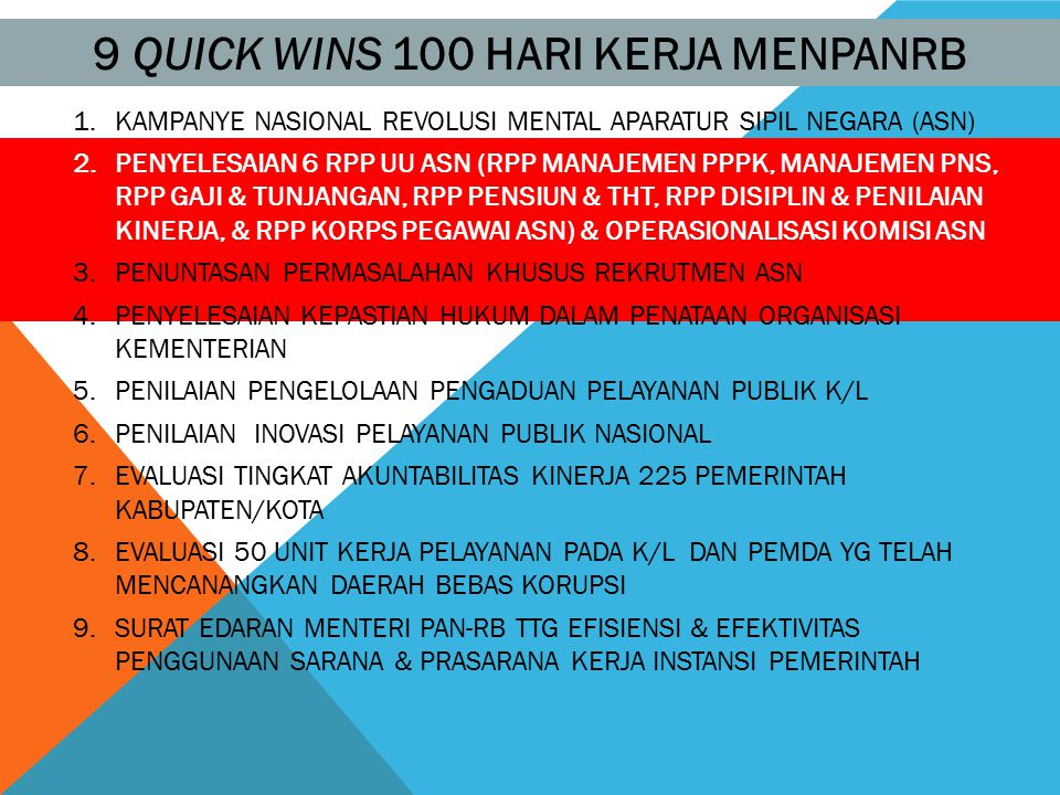 9 QUICK WINS 100 HARI KERJA MENPANRB