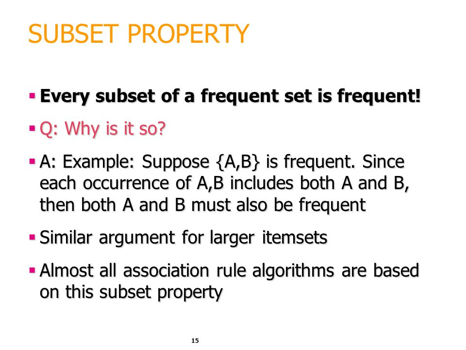 SUBSET PROPERTY Every subset of a frequent set is frequent!
