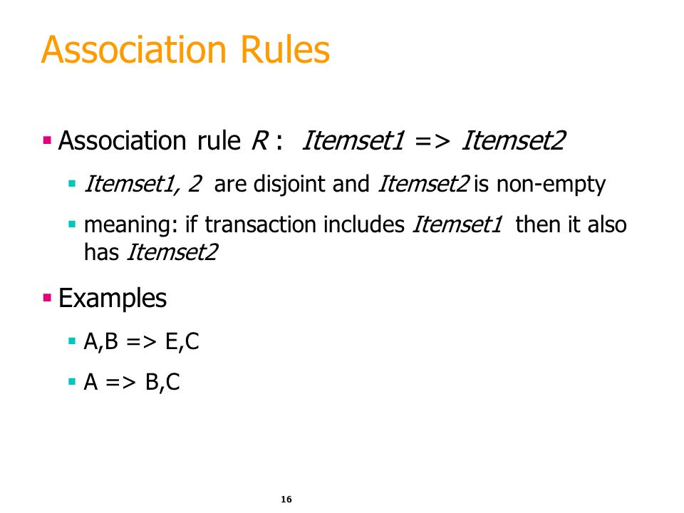 Association Rules Association rule R : Itemset1 => Itemset2