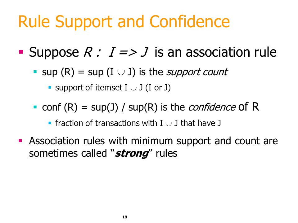 Rule Support and Confidence