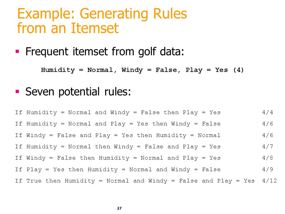Example: Generating Rules from an Itemset