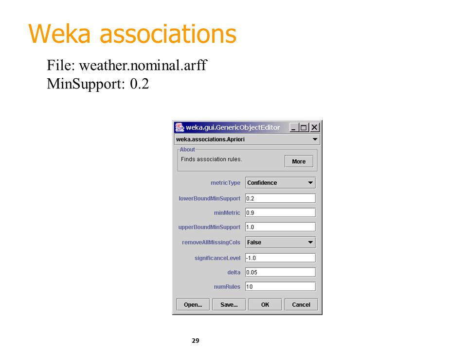 Weka associations File: weather.nominal.arff MinSupport: 0.2