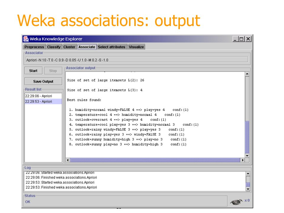 Weka associations: output