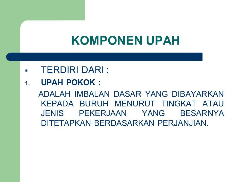 KOMPONEN UPAH TERDIRI DARI : UPAH POKOK :
