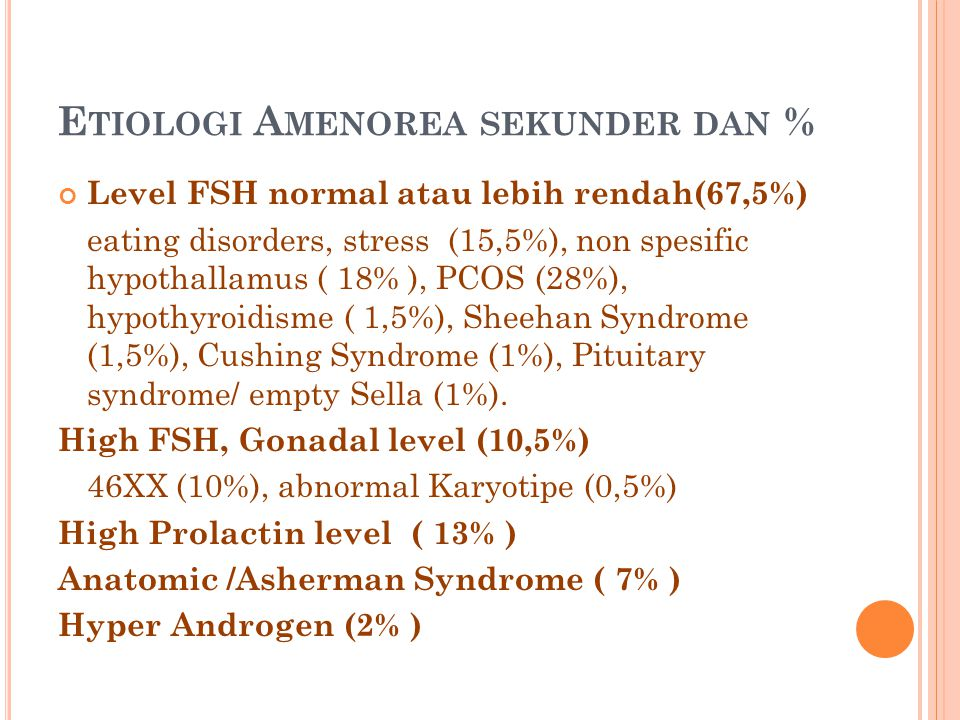 Etiologi Amenorea sekunder dan %