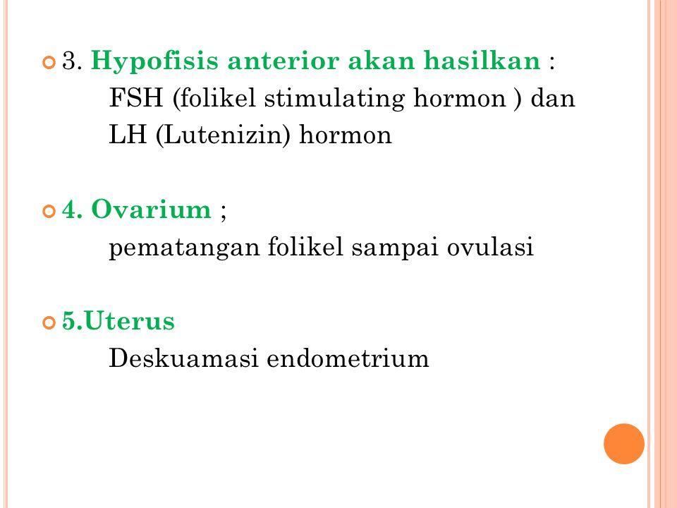 3. Hypofisis anterior akan hasilkan :