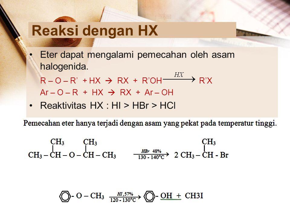 Reaksi dengan HX Eter dapat mengalami pemecahan oleh asam halogenida.