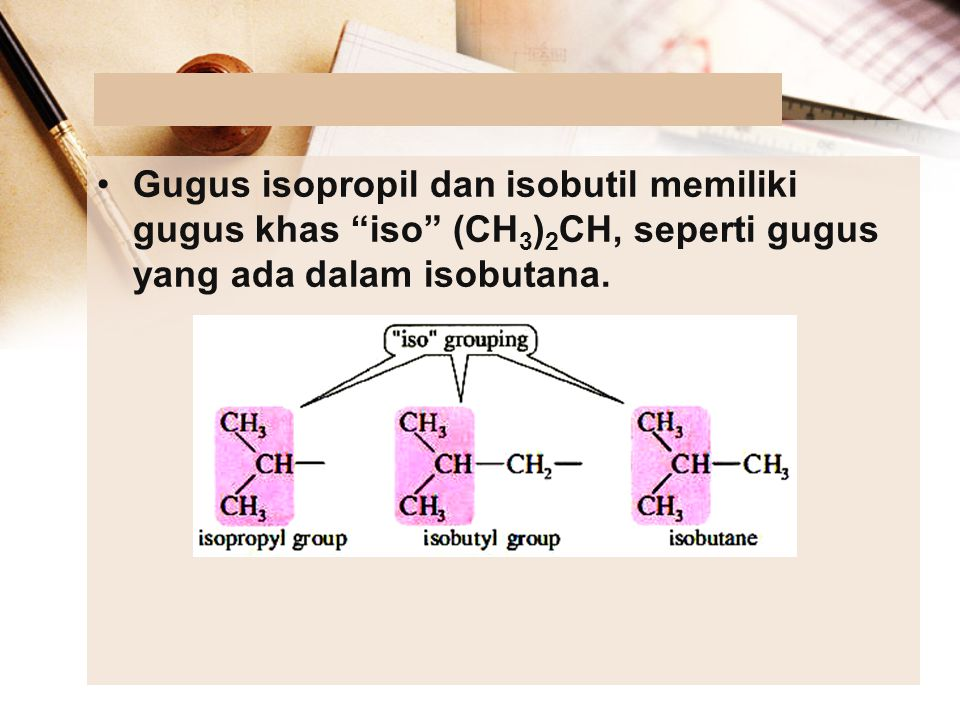 Gugus isopropil dan isobutil memiliki gugus khas iso (CH3)2CH, seperti gugus yang ada dalam isobutana.