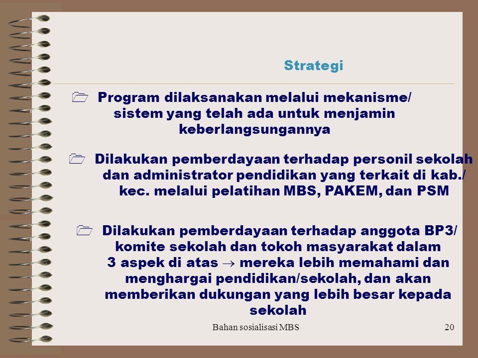 Strategi  Program dilaksanakan melalui mekanisme/ sistem yang telah ada untuk menjamin keberlangsungannya