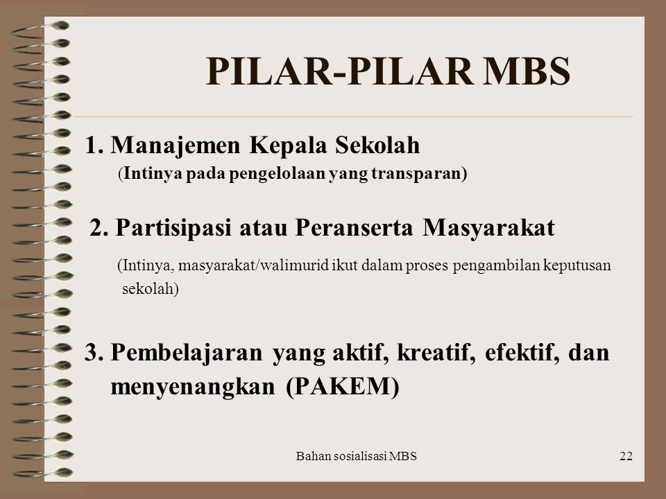 PILAR-PILAR MBS 1. Manajemen Kepala Sekolah