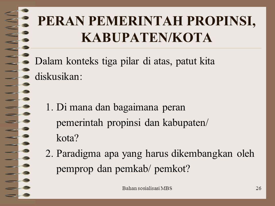 PERAN PEMERINTAH PROPINSI, KABUPATEN/KOTA